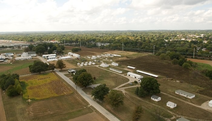 Aerial photo of the poultry facilities
