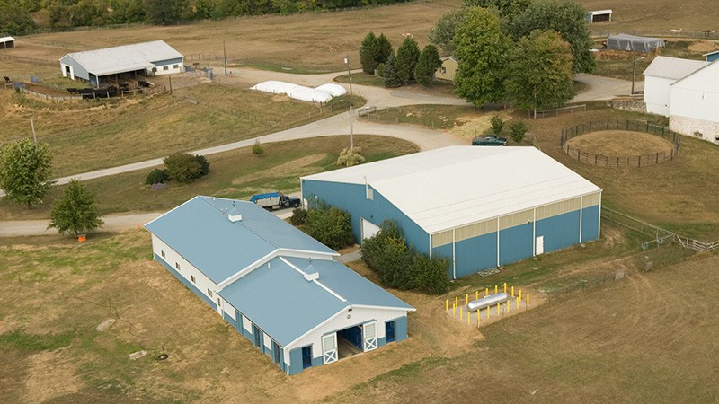 An aerial photo of the equine facilities located on Webb Farm