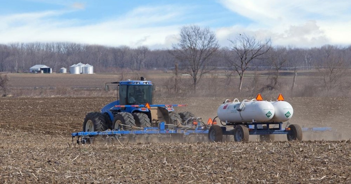 A blue tractor spraying / applying nutrients to a field.