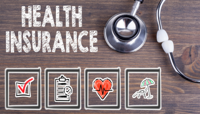 Health Insurance photo with health related icons