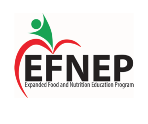 A logo featuring a person standing on top of an apple and the words: EFNEP Expanded Food and Nutrition Education Program