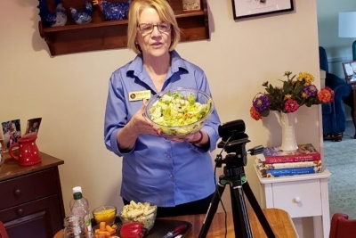 Kathleen Splane teaches an online Zoom class about food safety from her home kitchen.