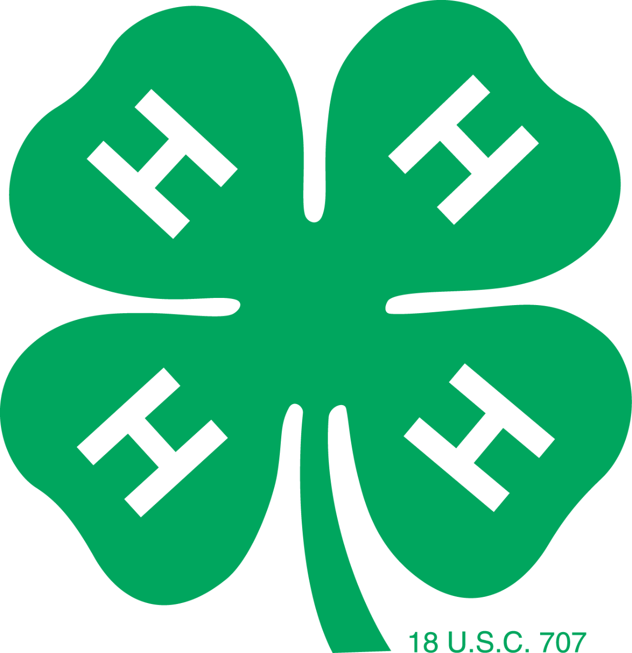 4-H green clover logo with and H on each leaf.