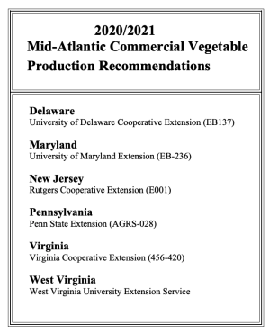 Mid-Atlantic Commericial Vegetable Crop Production Recommendations Publication Cover Image