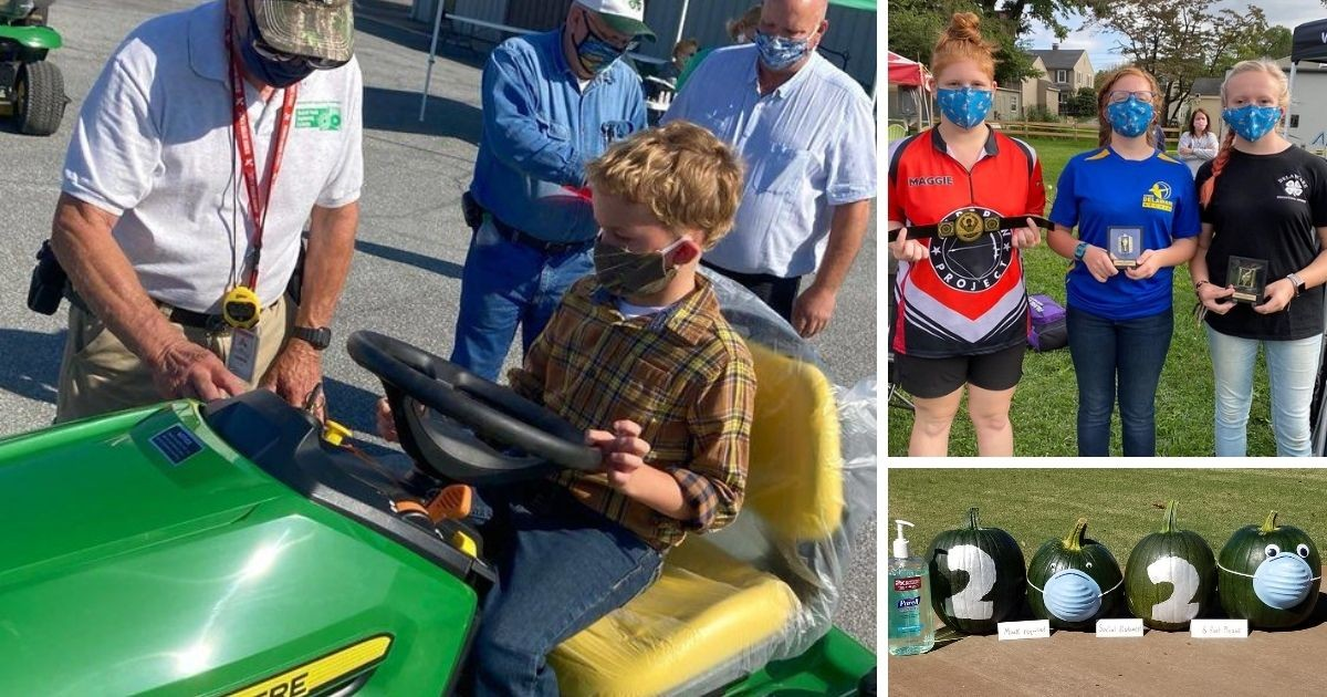 A 4-H member practicing tractor driving (left), 3 4-h members posing with awards at their archery competition (top right) and pumpkins decorated to say 2020 with masks (bottom right).