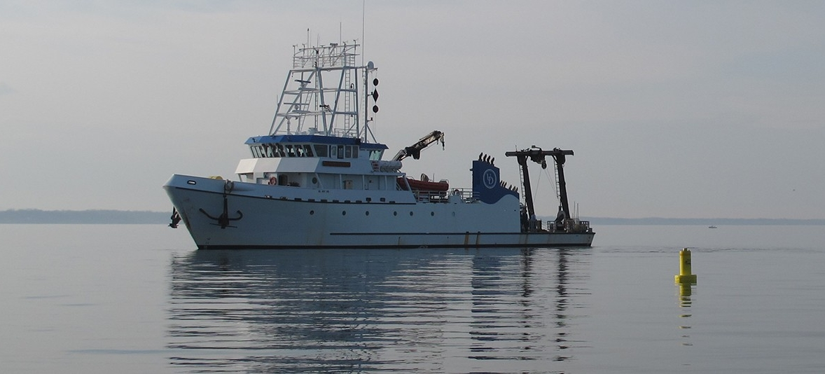 Shot of the R/V Sharp, UD's premiere research vessel