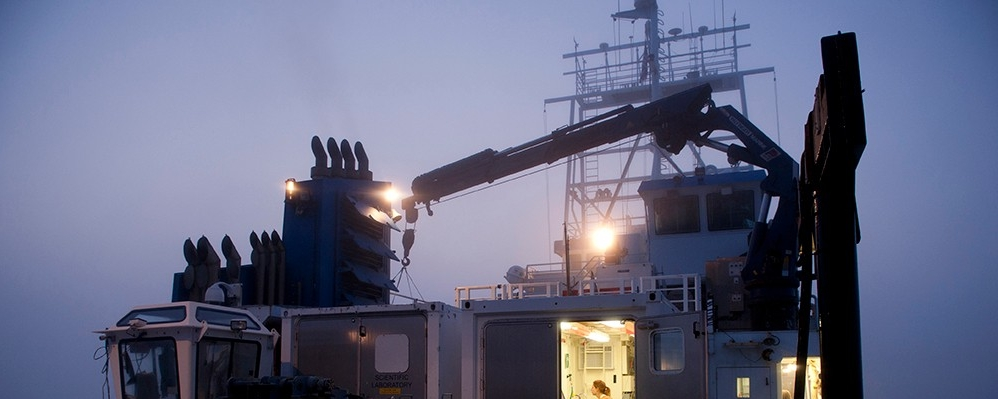 Image of the R/V Sharp at night