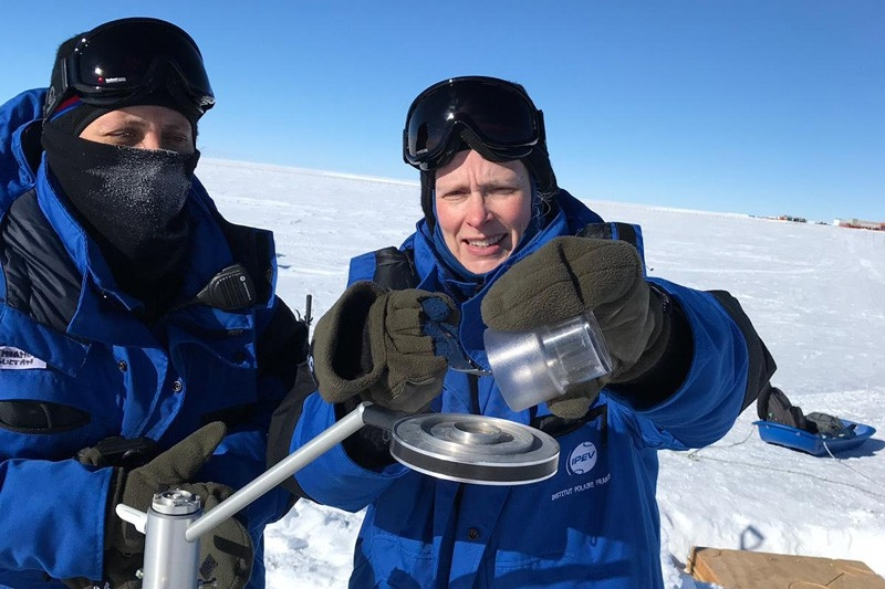 Geography Professor Dana Veron (right) conducted research in Antarctica.