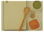 Background photo showing a wood spoon and ingredients.