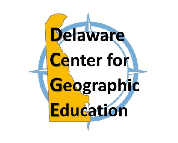 Delaware Center for Geographic Education logo - state outline over compass rose
