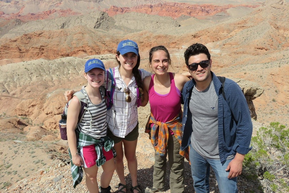 Four geology students on western field trip