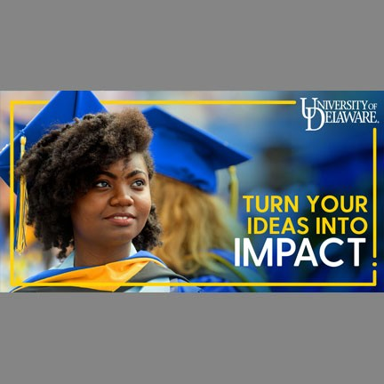 "Graphic depicting a graduate with the words ""Turn your ideas into impact"""