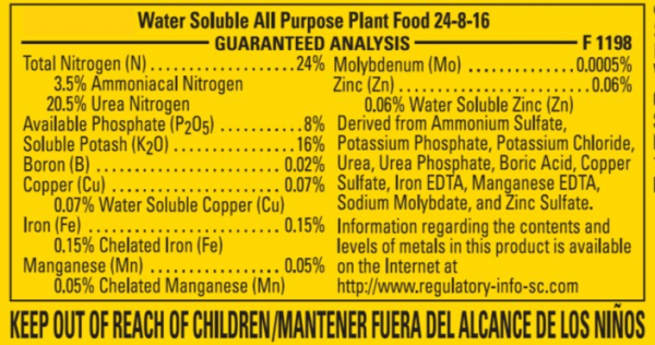 Figure 2. Fertilizer label for an All-Purpose ornamental fertilizer.