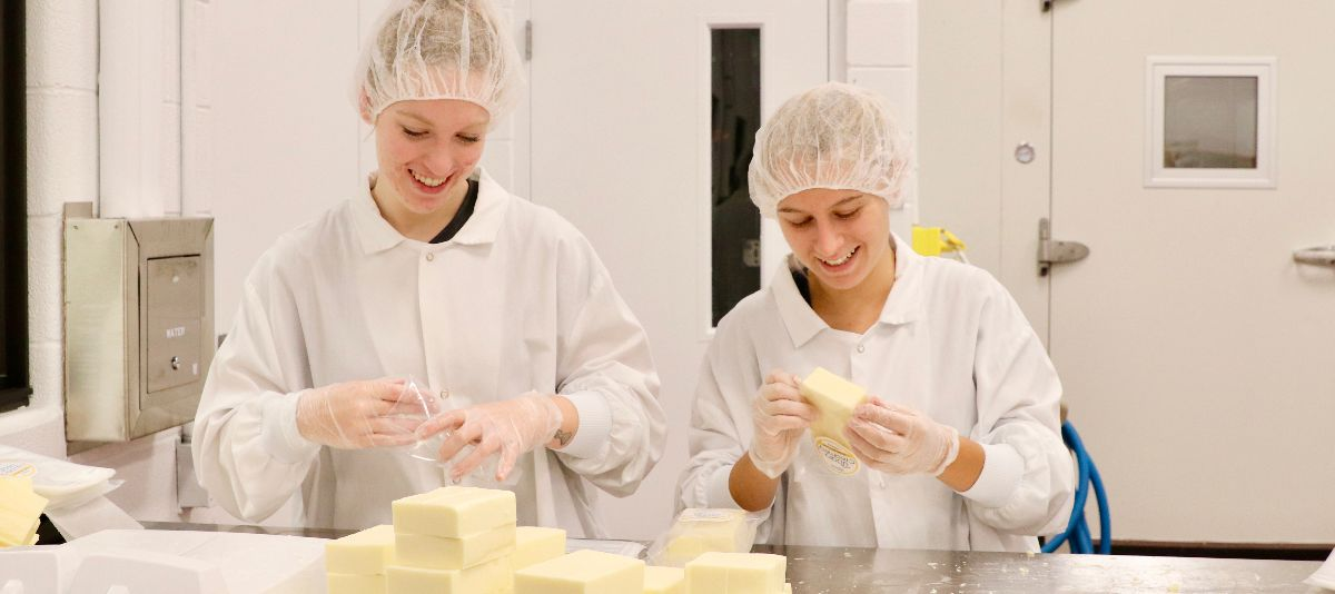 Students making cheese in the Genaurdi Food Innovation Lab