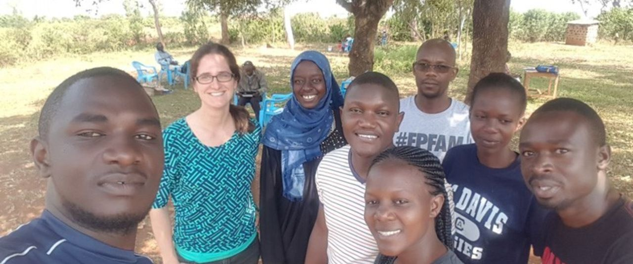 UD Assistant Professor Leah Palm-Forster (second from left) and Mariam Gharib (third from left), who got her graduate degree at UD, worked with a team of local residents in Kenya to survey 260 farmers about the purchasing habits for corn seed.