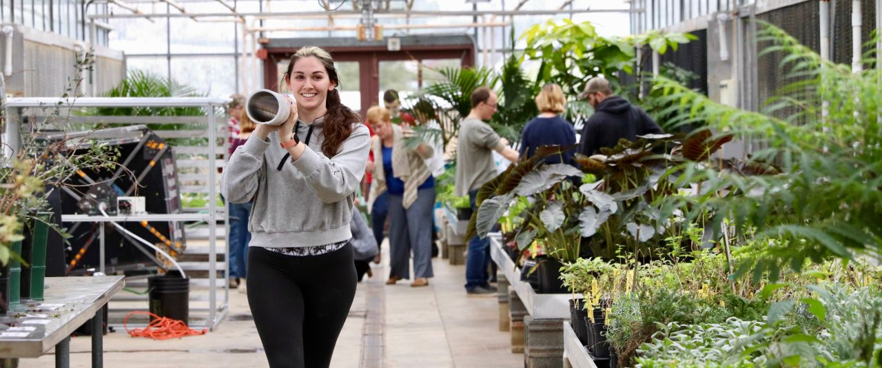 Student carries piping on shoulder through Fischer Greenhouse.