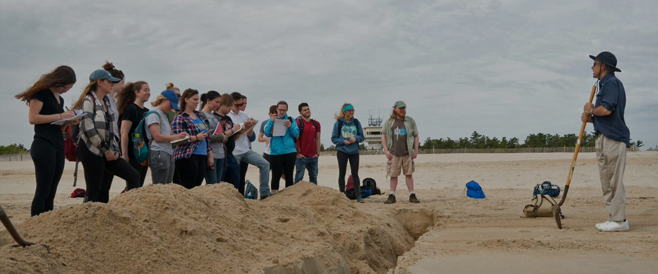 Dept. of Earth Sciences, Professor James Pizzuto, class field trip experience to Cape Henlopen, Delaware