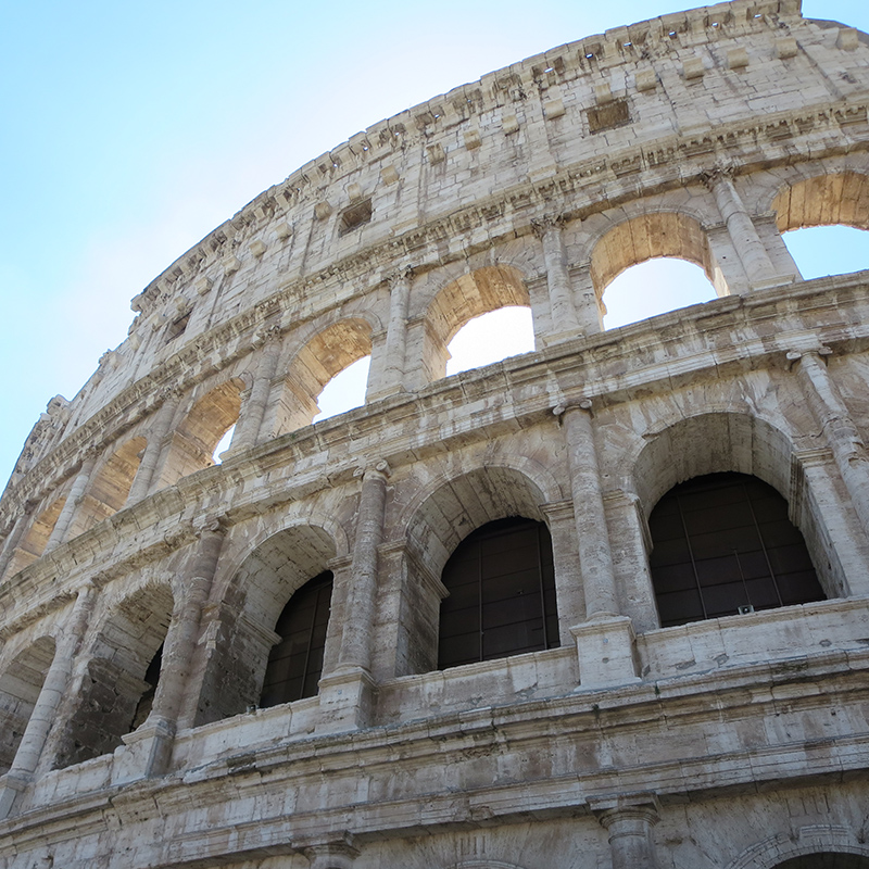 An up-close view of the Colosseum.