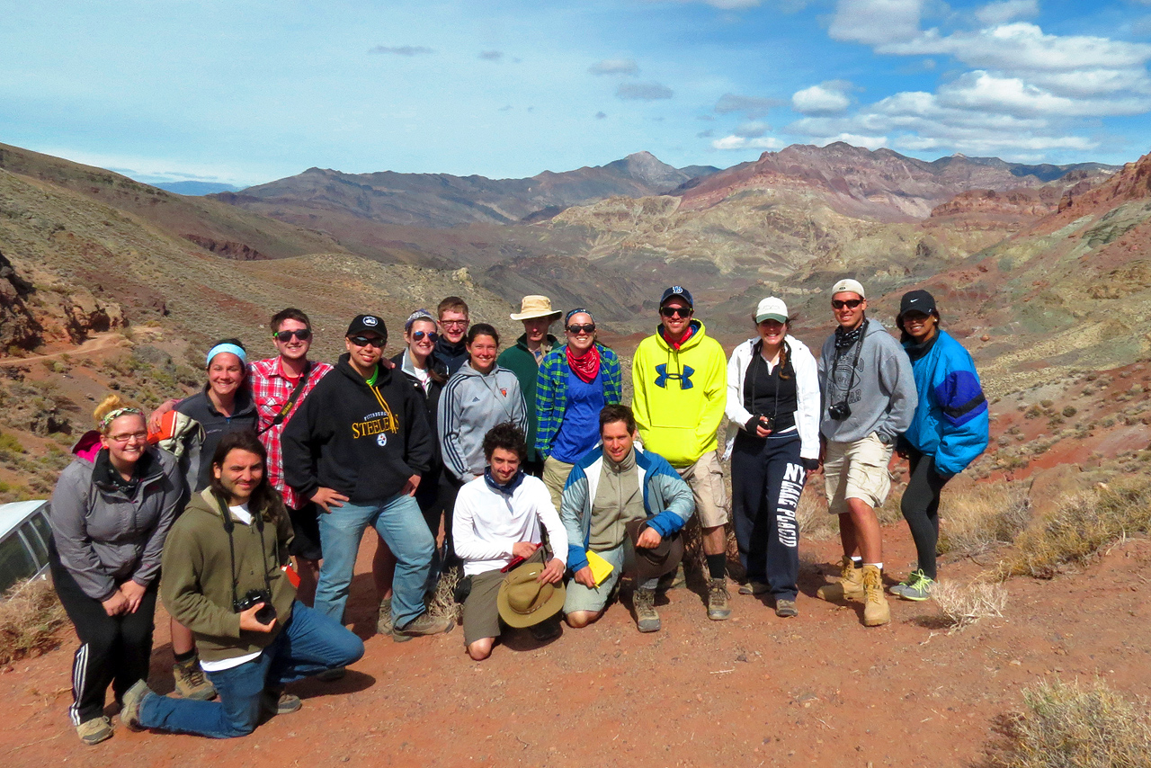 Geological Sciences students exploring Death Valley in California.