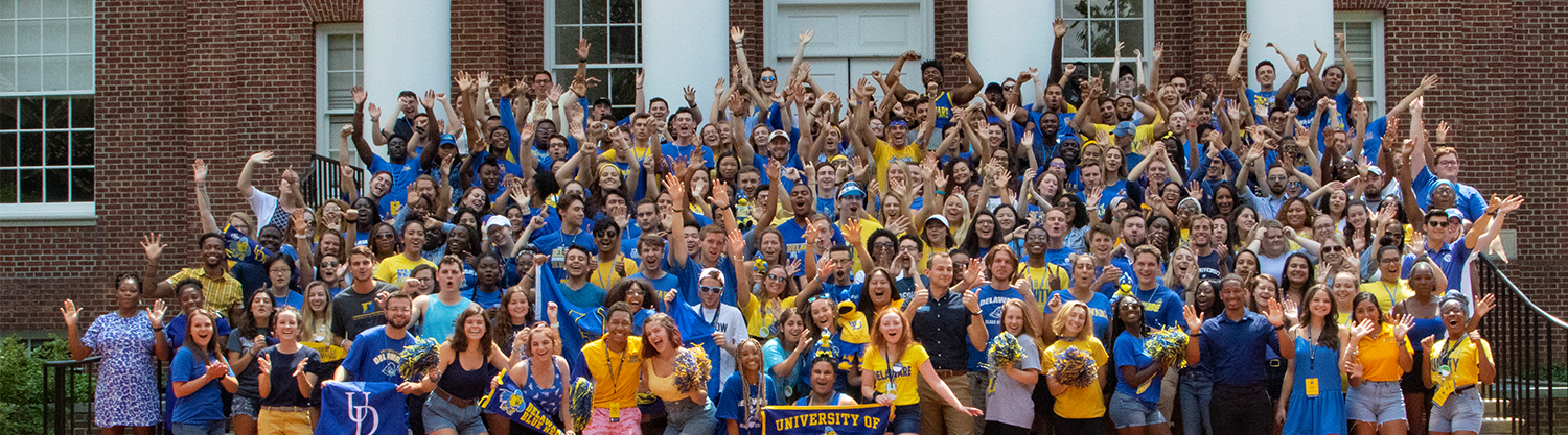 Cheering photo of the 2019-2020 staff on Memorial Hall steps