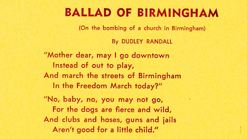 """an analysis of the poem ballad of birmingham by dudley randall Read the poem """"ballad of birmingham"""" by dudley randall and complete the instruction that follows """"mother dear, may i go downtown instead of out to play."""