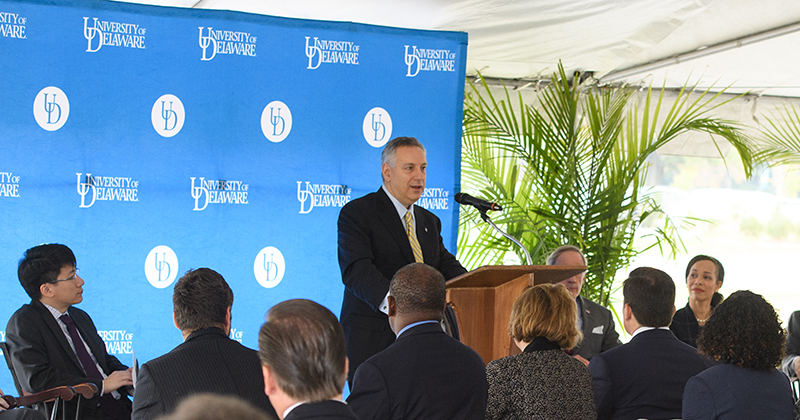 UD President Dennis Assanis speaks at the ceremonial groundbreaking for a six-story, $156 million Biopharmaceutical Innovation Building on UD's STAR Campus.