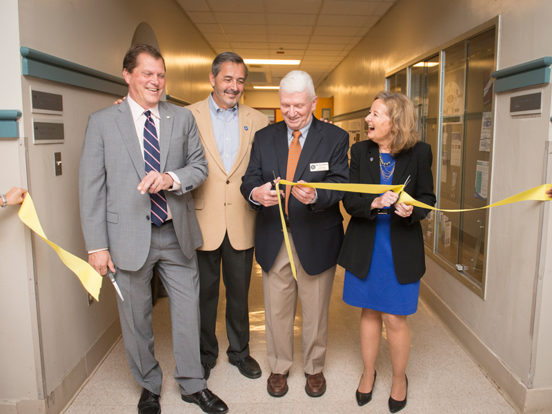 UD College of Arts and Sciences' Dean George Watson, former Provost Domenico Grasso, Center director David Barlow, College of Health Sciences' Dean Kathleen Matt, cut the ribbon on the revamped space in Pearson Hall.