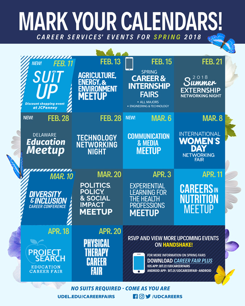 The UD Career Services Center image with dates of events in the spring semester.