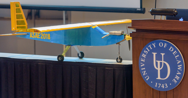 With the plane on display, students discussed how they designed and built the aircraft during December's 2017