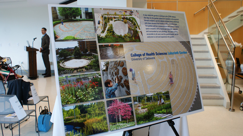 A concept board illustrated the future College of Health Sciences' memorial labyrinth, which will honor anatomical donors.