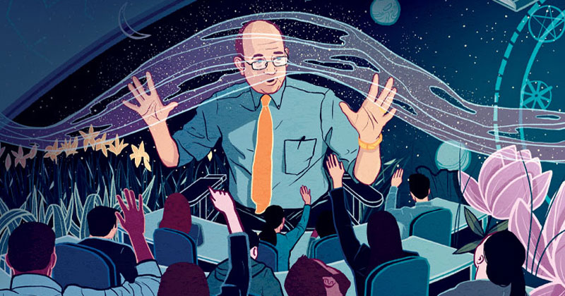 illustration of Prof. Alan Fox in a classroom full of students with spiritual elements surrounding him