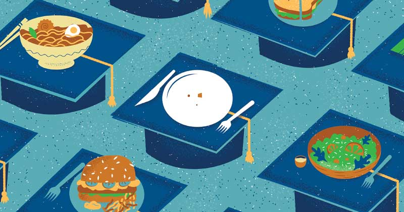 Illustration of one empty plate on a graduation cap surrounded by filled plates on graduation caps.