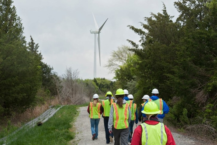 Class field trip to the wind turbine Lewes, Del.