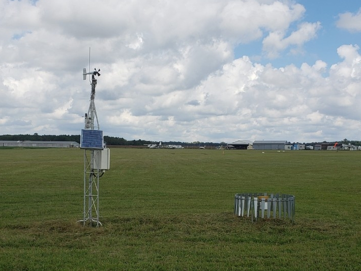 Weather station in a field