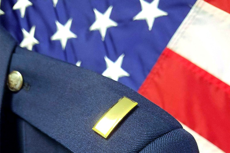 Close up shot of a UD Air Force ROTC students' epaulet.