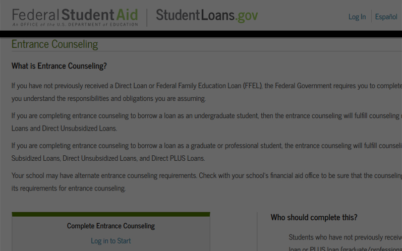 Financial Aid Entrance Counseling