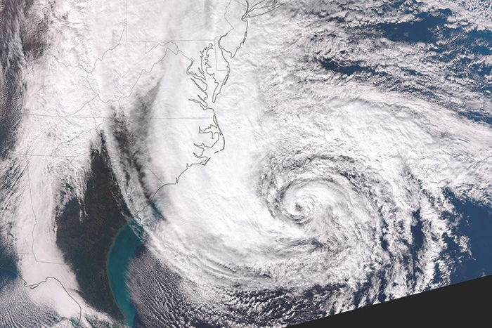 satellite image of Hurricane Sandy offshore of Delmarva