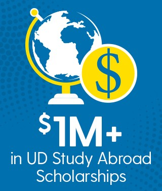 "Infographic that says ""$1M+ in UD Study Abroad Scholarships."""
