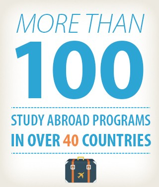 "An Infographic that says ""More than 100 study abroad programs in over 40 countries."""