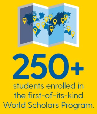 "An Infographic that says ""250+ students enrolled in the first-of-its-kind World Scholars Program."""
