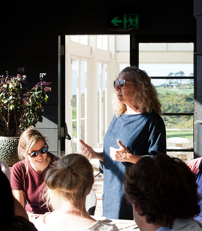 Amy Greenwald Foley speaks to World Scholars in Waiheke, NZ.