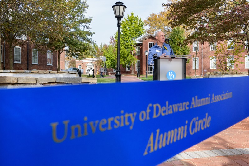 Photograph of UDAA President, Steve Beattie at the dedication of Alumni Circle on the University of Delaware campus.