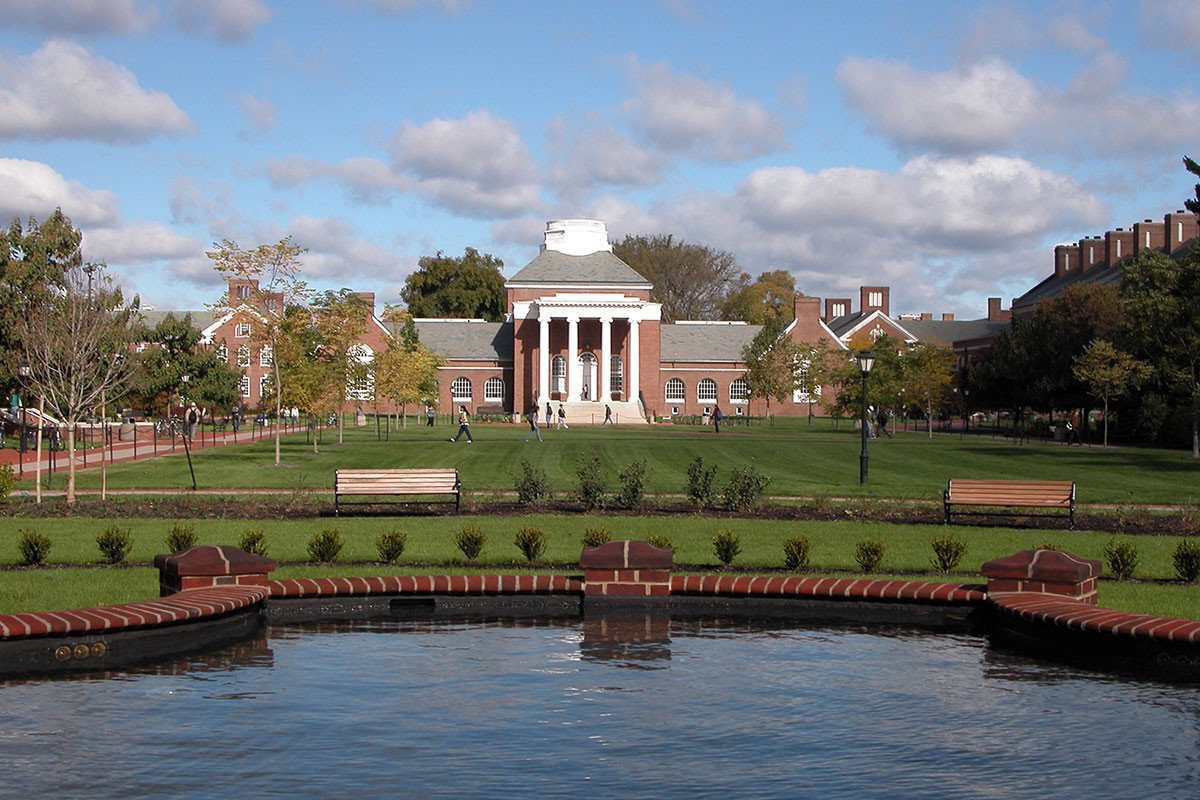 Photograph of Memorial Hall on the University of Delaware campus.