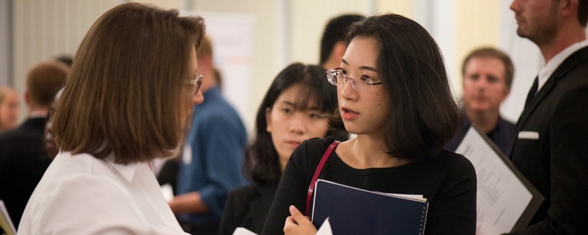 Image of Student asking questions about graduate school