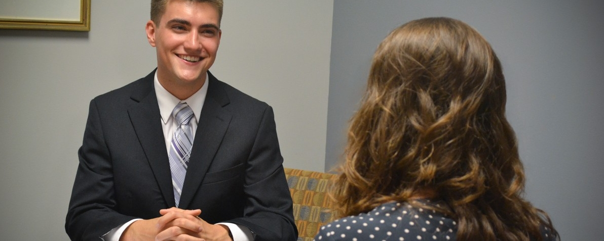 Photo of UD student interviewing.