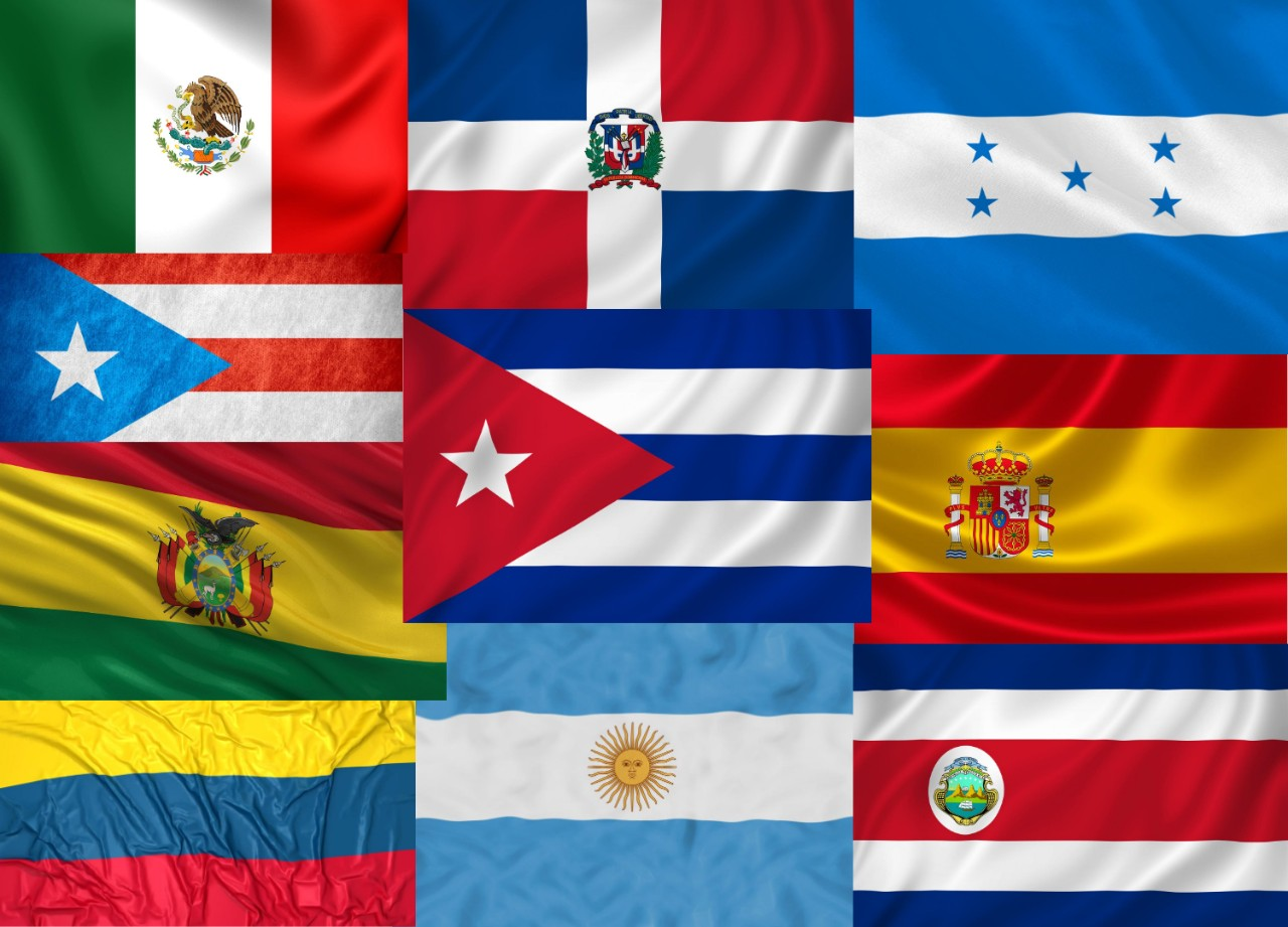 A collection of flags from Hispanic and LatinX countries