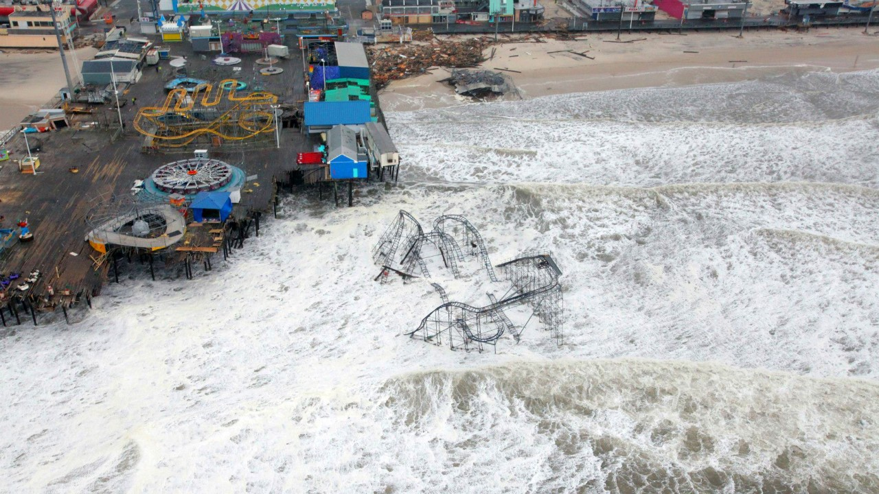 Damage to Casino Pier in Seaside Heights, New Jersey