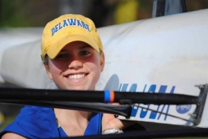 Laura Donohue with rowing shell