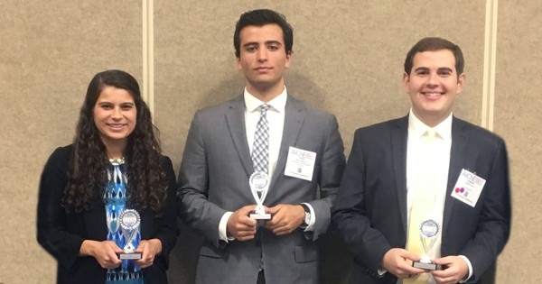 Students Victoria Muir, Trent Simonetti and Rob Cipolla earned awards at the 2017 AIChE annual meeting.