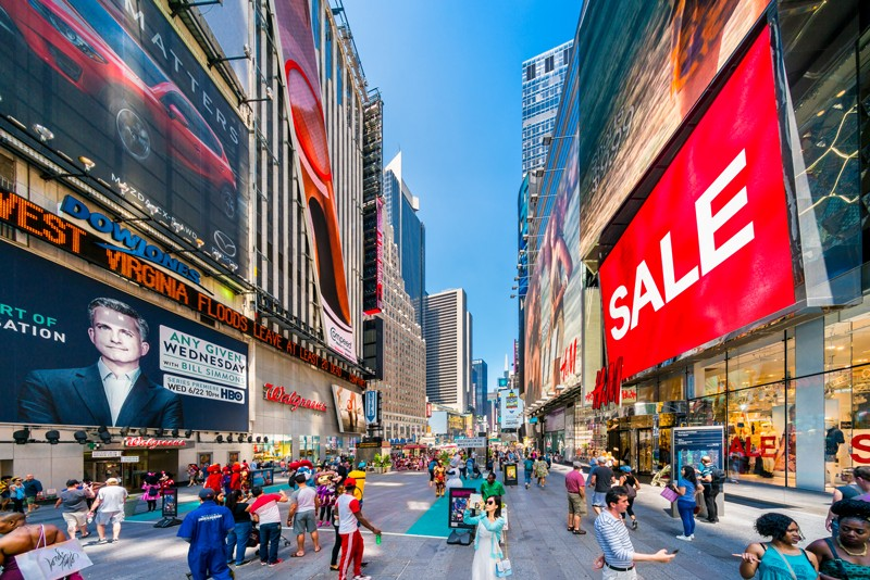 Shoppers at New York's Time Square